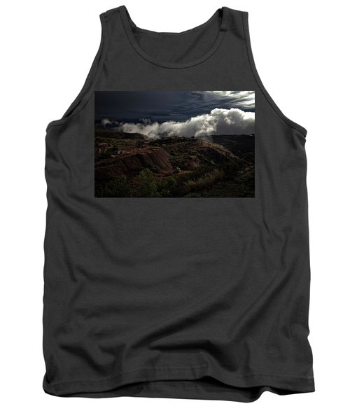 Tank Top featuring the photograph The Jerome State Park With Low Lying Clouds After Storm by Ron Chilston