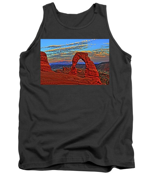 Tank Top featuring the photograph The La Sal Mountains And Arch by Scott Mahon
