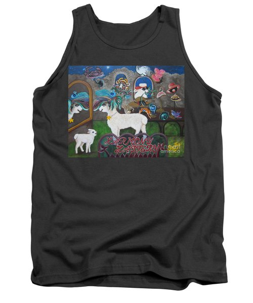 Tank Top featuring the painting Chloe The Flying Lamb Productions     Dapper Daphne    The Lamb In The Mirror  by Sigrid Tune