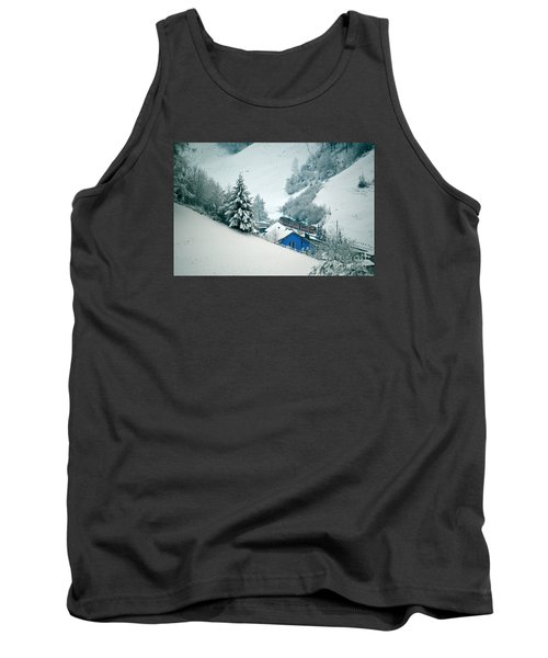 Tank Top featuring the photograph The Little Red Train - Winter In Switzerland  by Susanne Van Hulst