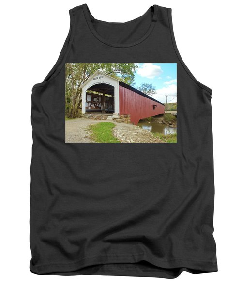 Tank Top featuring the photograph The Mecca Covered Bridge by Harold Rau