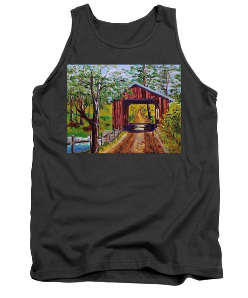 The Old Covered Bridge Tank Top by Mike Caitham