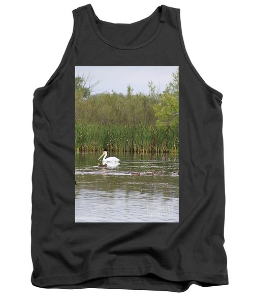 Tank Top featuring the photograph The Pelican And The Ducklings by Alyce Taylor