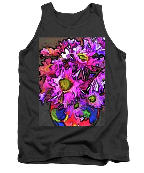 The Pink And Purple Flowers In The Red And Blue Vase Tank Top