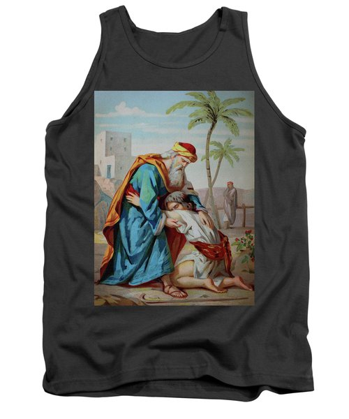 The Prodigal Son, Biblical Parable Of The Gospel Of Luke, Chromolithograph From A Home Bible, 1870 Tank Top
