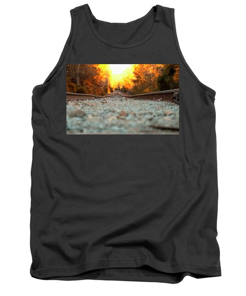 Tank Top featuring the digital art The Railroad Tracks From A New Perspective by Chris Flees