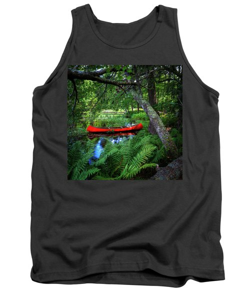 The Red Canoe On The Lake Tank Top