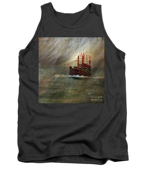 Tank Top featuring the photograph The Red Fishing Boat by LemonArt Photography