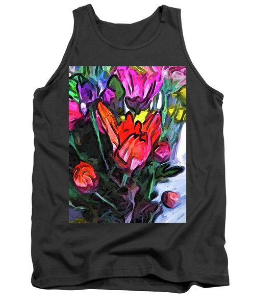 The Red Flower And The Rainbow Flowers Tank Top
