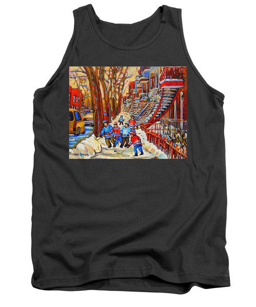 The Red Staircase Painting By Montreal Streetscene Artist Carole Spandau Tank Top