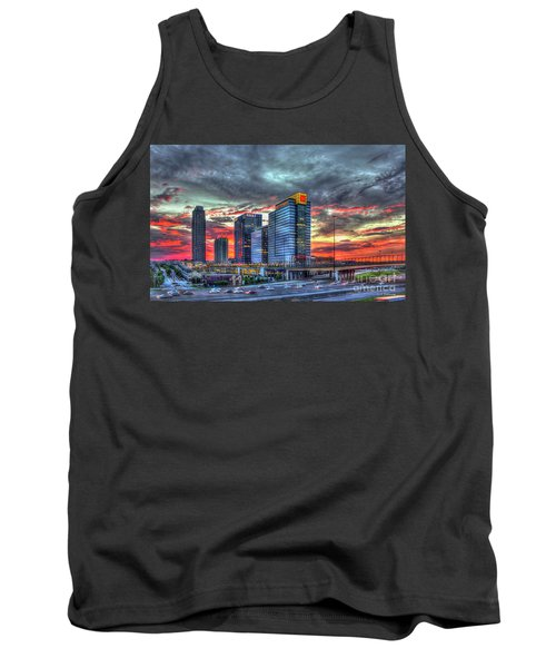 The Red Sunset Midtown Atlanta Cityscape Art Tank Top