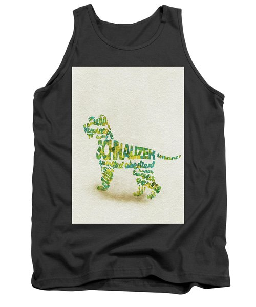 Tank Top featuring the painting The Schnauzer Dog Watercolor Painting / Typographic Art by Ayse and Deniz