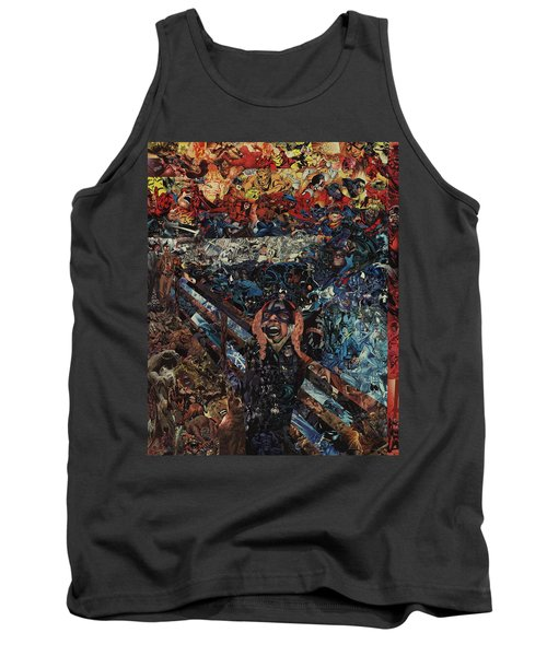Tank Top featuring the mixed media The Scream After Edvard Munch by Joshua Redman