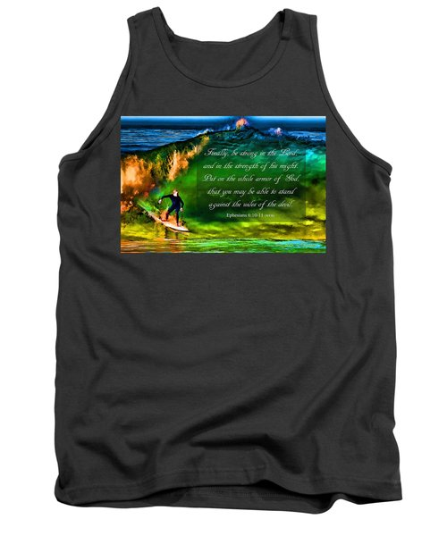 Tank Top featuring the photograph The Shadow Within With Bible Verse by John A Rodriguez