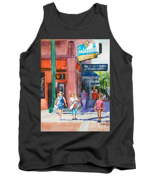 Tank Top featuring the painting The Shoppers by Ron Stephens