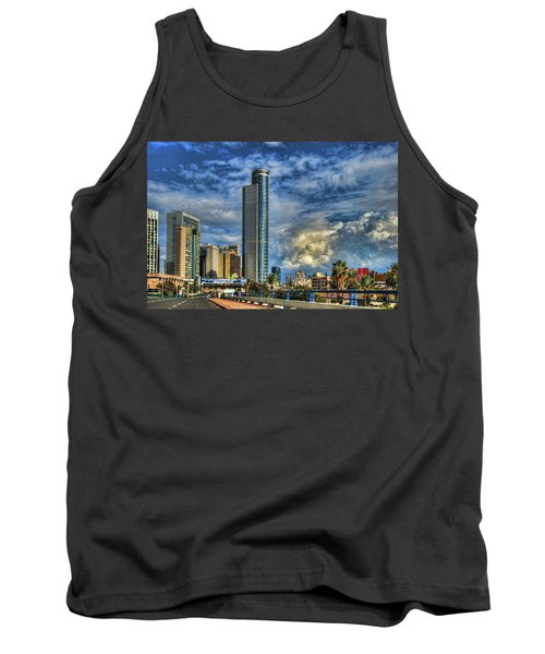 Tank Top featuring the photograph The Skyscraper And Low Clouds Dance by Ron Shoshani
