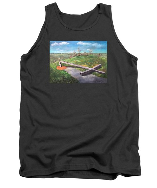 Tank Top featuring the painting Millsfield Tennessee Steel Cross by Randol Burns