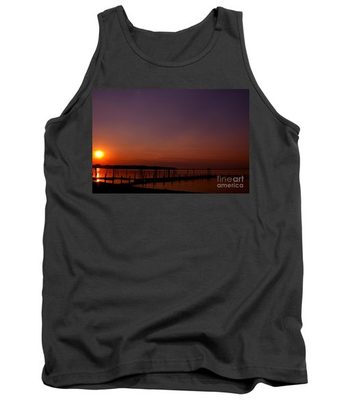 The Sun Sets Over The Water Tank Top by Clayton Bruster