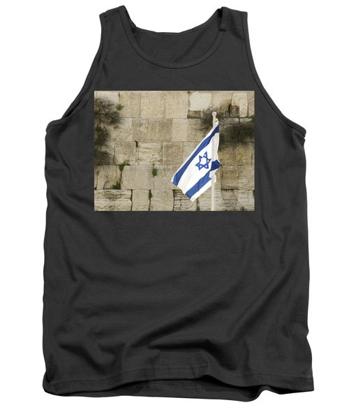 Tank Top featuring the photograph The Wailing Wall And The Flag by Yoel Koskas