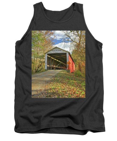 Tank Top featuring the photograph The Wilkins Mill Covered Bridge by Harold Rau