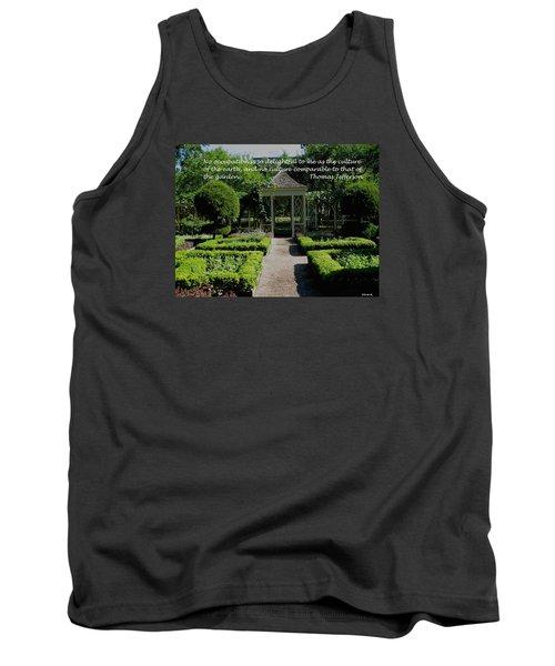 Thomas Jefferson On Gardens Tank Top by Deborah Dendler