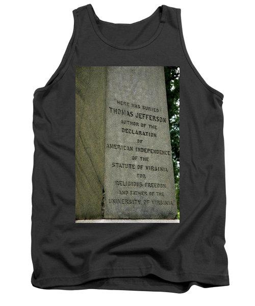 Thomas Jefferson Tombstone Close Up Tank Top by LeeAnn McLaneGoetz McLaneGoetzStudioLLCcom