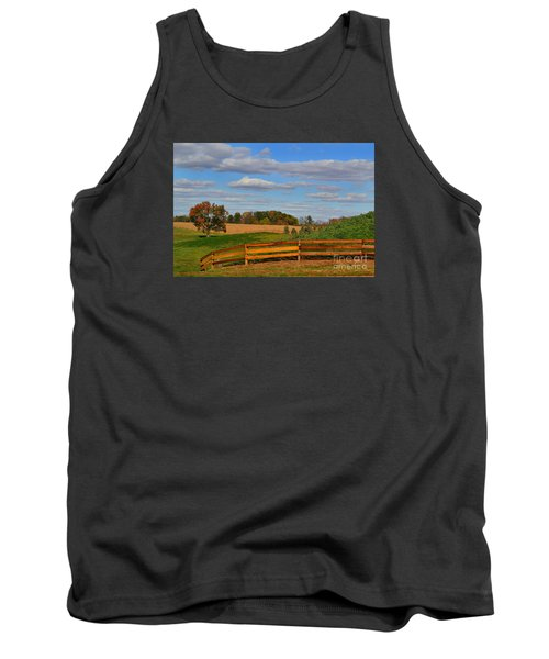 Thorntown Farm Field In The Fall Tank Top