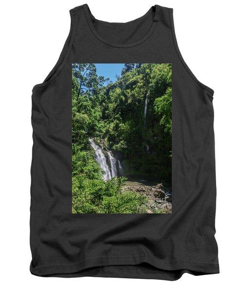 Three Bear Falls Or Upper Waikani Falls On The Road To Hana, Maui, Hawaii Tank Top by Peter Dang