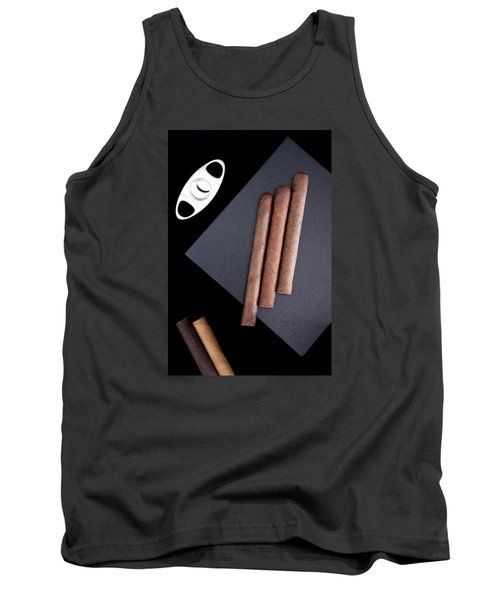 Tank Top featuring the photograph Three Cigars On The Box And Cutter  by Andrey  Godyaykin