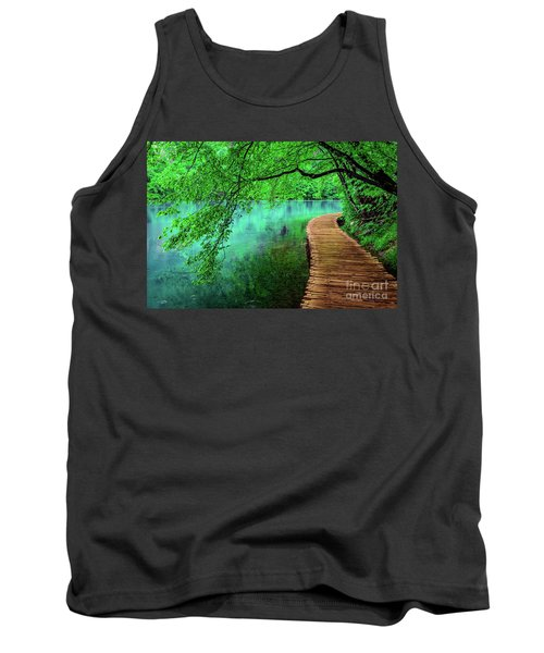 Tree Hanging Over Turquoise Lakes, Plitvice Lakes National Park, Croatia Tank Top