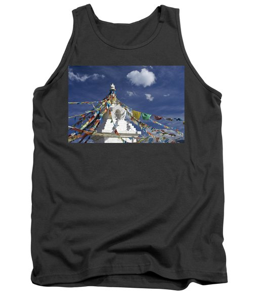 Tibetan Stupa With Prayer Flags Tank Top