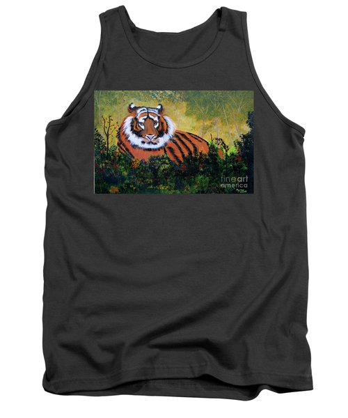 Tank Top featuring the painting Tiger At Rest by Myrna Walsh