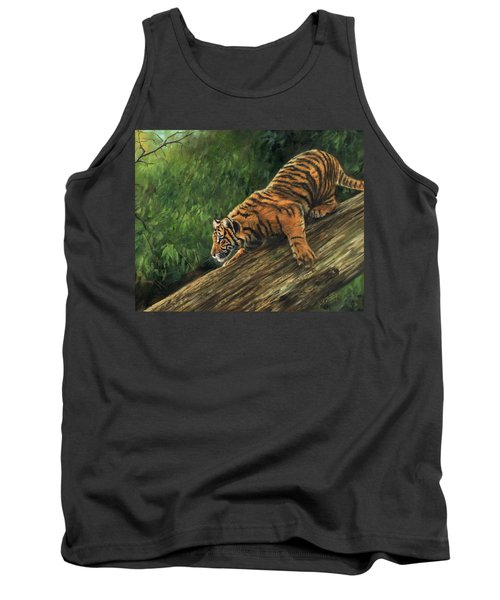 Tank Top featuring the painting Tiger Descending Tree by David Stribbling