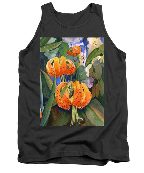 Tank Top featuring the painting Tiger Lily Parachutes by Nancy Watson
