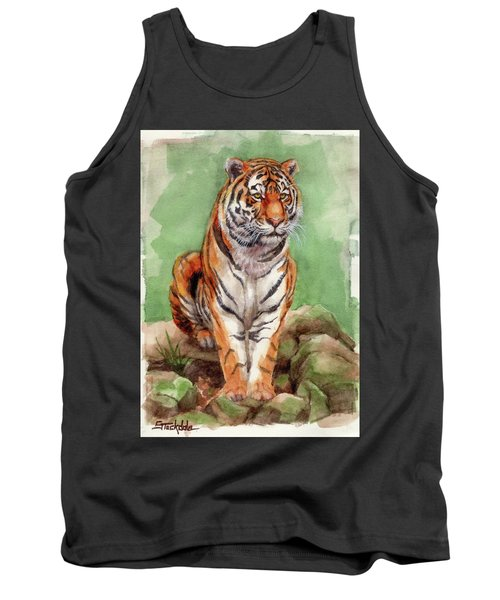 Tiger Watercolor Sketch Tank Top by Margaret Stockdale