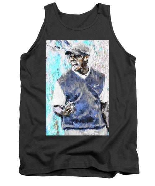 Tiger Woods One Blue Golfer Digital Art Tank Top by David Haskett