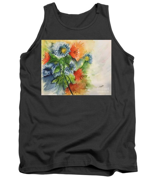 Tigerlilies And Cornflowers Tank Top by Lucia Grilletto