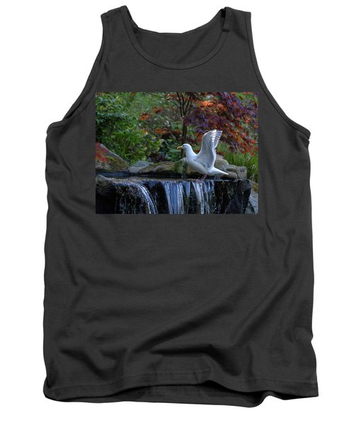 Time For A Bird Bath Tank Top by Keith Boone