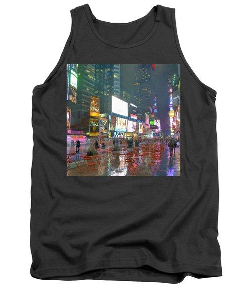 Times Square Red Rain Tank Top by Jeffrey Friedkin
