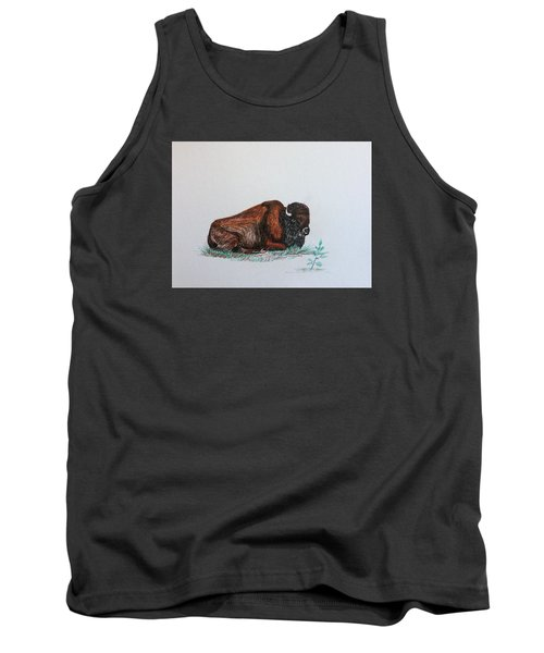 Tired Bison Tank Top by Ellen Canfield