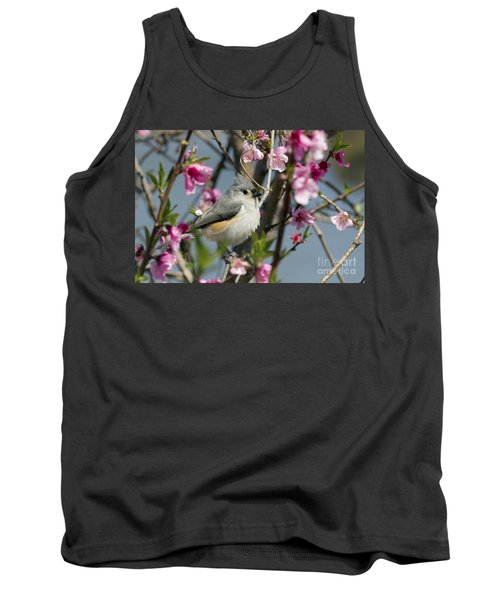Titmouse And Peach Blossoms Tank Top
