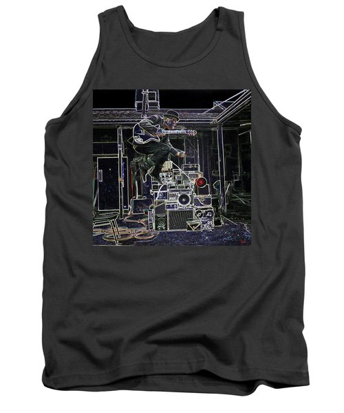 Tom Waits Jamming Tank Top by Charles Shoup