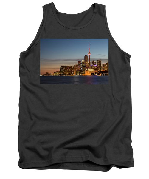 Tank Top featuring the photograph Toronto Skyline At Dusk by Adam Romanowicz