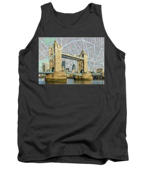 Tank Top featuring the digital art Tower Bridge by Adam Spencer