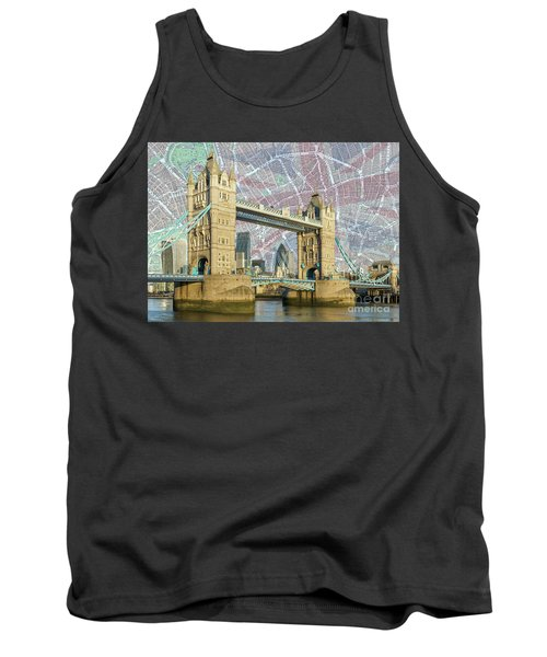 Tank Top featuring the digital art Tower Bridge With Union Jack by Adam Spencer