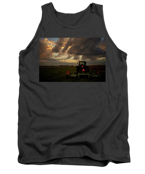 Tractor At Sunrise - Chester Nebraska Tank Top