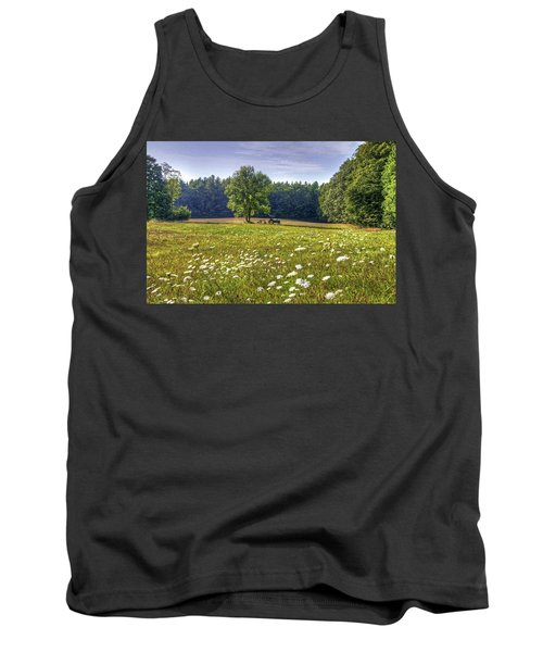 Tractor In Field With Flowers Tank Top