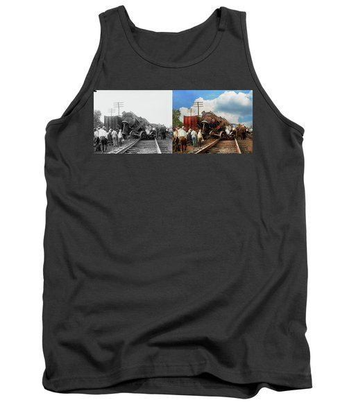 Tank Top featuring the photograph Train - Accident - Butting Heads 1922 - Side By Side by Mike Savad