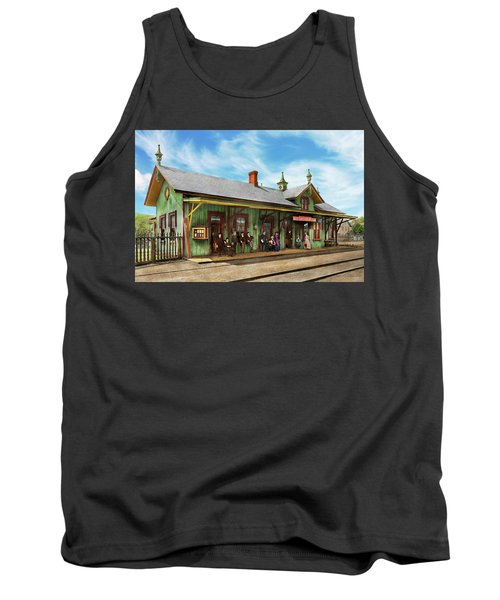 Tank Top featuring the photograph Train Station - Garrison Train Station 1880 by Mike Savad