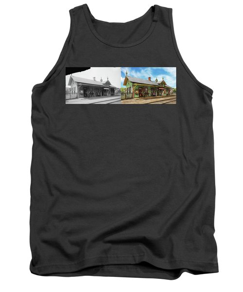 Tank Top featuring the photograph Train Station - Garrison Train Station 1880 - Side By Side by Mike Savad